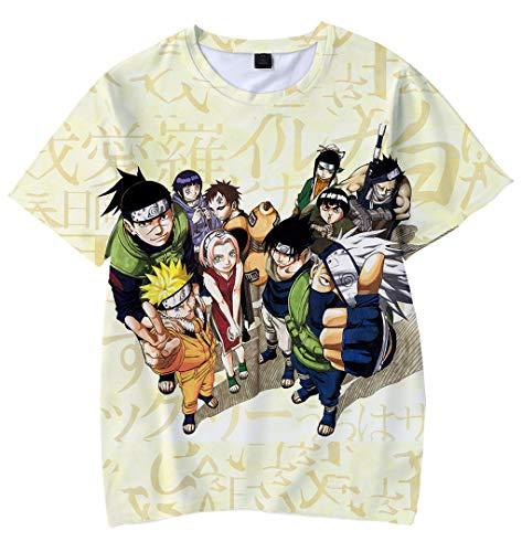 Silver Basic Naruto Anime Giapponese Cartoon Cosplay Sasuke Kakashi Jiraiya T-Shirt per Bambinio,Naruto 6740-5,100