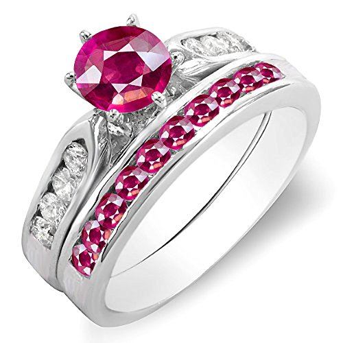 Dazzlingrock Collection 14K Round Ruby & White Diamond Ladies Bridal Engagement Ring Set Band, White Gold, Size 7