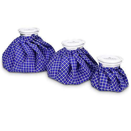 NavarisBolsasdehieloycalor-Juego de3x bolsa reutilizable para aplicar temperatura caliente y fría en 3 tamaños - Blancoyazul 🔥
