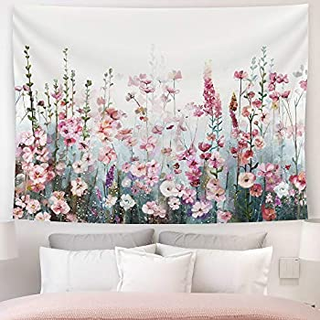 SUMGAR Colorful Flowers Tapestry Wall Hanging Pink Floral Romantic Wildflower Plants Nature Scenery Tapestries Decoration for Bedroom Living Room 80 x 60 inch