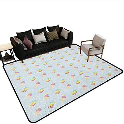 MsShe Conferentiekamer tapijt IJs, IJs met Globe Planet Aarde Smaak Ecologische Grafische Print, Bleke Caramel Violet Blauw
