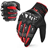 INBIKE Motorcycle Gloves Tactical Gloves Racing Gloves Hard Knuckle Safety Glove Red Large