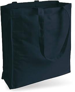 Cottonbagjoe Jutebeutel Canvastasche aus Jeansähnlichem Stoff sehr robust und widerstandsfähig unbedruckt mit Seiten-&Bodenfalte und Zwei Langen Henkeln 38x42x10cm Marineblau
