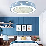 CYGG Ventilador De Techo Led Regulable para Habitación Infantil,lámpara De Techo Redonda para Dormitorio De Niños Y Niñas,decoración De Nubes Lunares (Azul/Rosa)