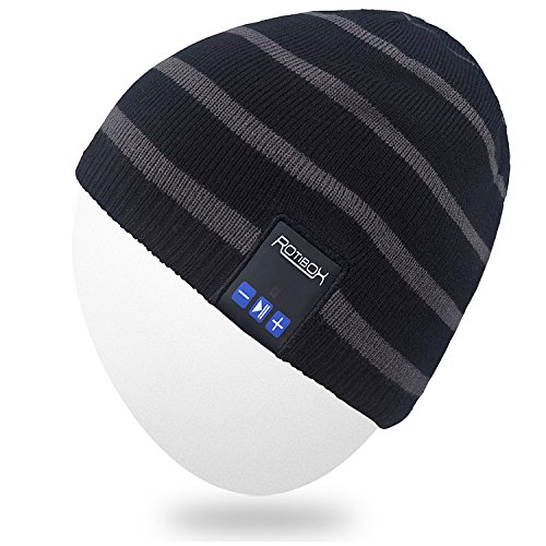 Rotibox Bluetooth Beanie Hat, Winter Trendy Cap Ear Covers with Wireless Headphones Headsets Earphones Speaker Mic Hands Free for Outdoor Sports Skiing Snowboard Walking Jogging - Black