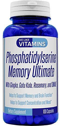 Phosphatidylserine Memory Ultimate 1000mg (per Serving, 33 Servings) with Ginkgo, Gotu Kola, Rosemary and DMAE 100 Capsules Phosphatidyl Serine Helps Cognitive Health, Brain Function, Mental Clarity