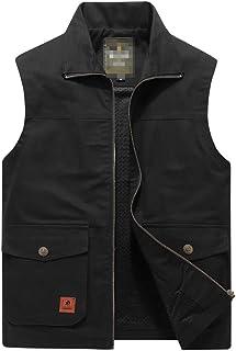 MilaBrown Outdoor Men Big Size Casual Vest Jacket Men's Pockets Sleeveless Fleece Waistcoat