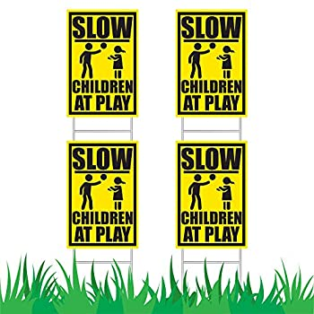JekStar Slow Down Children at Play Caution Signs Set W/Stakes│Kids Playing Warning Traffic Sign for Neighborhood Streets│Unattended Children Safety Alert Sign Kit - 4 PK