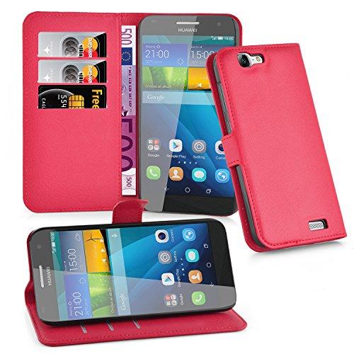 Cadorabo Hülle für Huawei G7 in Karmin ROT - Handyhülle mit Magnetverschluss, Standfunktion & Kartenfach - Hülle Cover Schutzhülle Etui Tasche Book Klapp Style