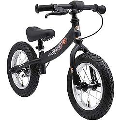 BIKESTAR Laufrad Laufrad mit Seitenständer und Bremse für Kinder ab 3 Jahren   12 Zoll Sport Edition   Schwarz (matt)