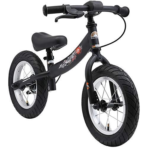 BIKESTAR Lauflaufrad mit Seitenstand und Bremse für Kinder ab 3 Jahren | 12 Zoll Sport Edition | schwarz (matt)