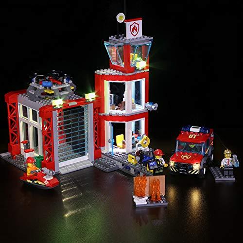 Nlne Kit De Iluminación Led para Lego City Fire Brigada Distrito Centro, Compatible con Ladrillos De Construcción Lego Modelo 60216(NO Incluido En El Modelo)