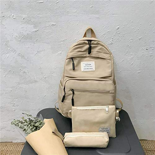 3 Set Nylon Backpack Solid Color Shoulder Bag Casual Women Backpack Teenage Girl School Bag Bagpack Backbag Backpacks Female,Khaki-3set