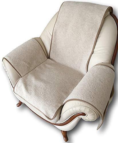 Alpenwolle Sesselschoner in Wellenoptik beige mit Taschen, 100% Wolle, Sesselauflage Sesselüberwurf Sitzauflage Überwurf