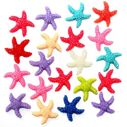 Musykrafties Bling 30 étoile de mer étoile de mer pour aquarium Terrarium Fée Jardin miniature Jardin Maison de poupée pour gâteau Plastique de scrapbooking Décoration Couleurs aléatoires