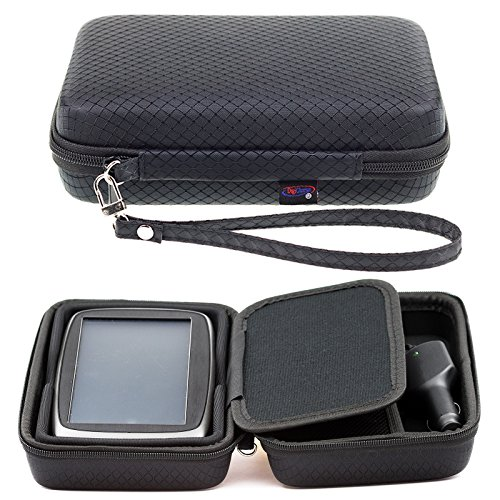 DigiCharge Schwarzes Hartschalentasche für Tomtom Start 62 60 Via 62 6\'\' 6 Zoll GPS Navigationsgerät Navigationssystem Sat NAV mit Tragegurt und Zubehörfach