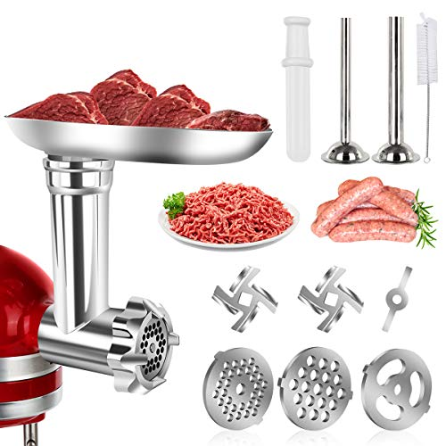 ZISION Metal Meat Food Grinder Attachment for KitchenAid Stand Mixers Compatible with All KitchenAid Stand Mixer