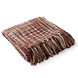 Artistic Weavers Sylvia Throw Blanket 50 by 60-Inch, 50' x 60', Bright Red, Tan, White, Camel, Dark Brown