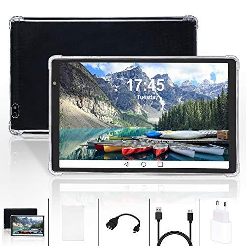 Tablet de 10 pulgadas Android 10 Quad – Core SIM Tablet PC con 4 GB RAM + 64 GB ROM Expansión SD de 128 GB 8000 mAh WIFI GPS doble cámara 5 MP + 8 MP negro
