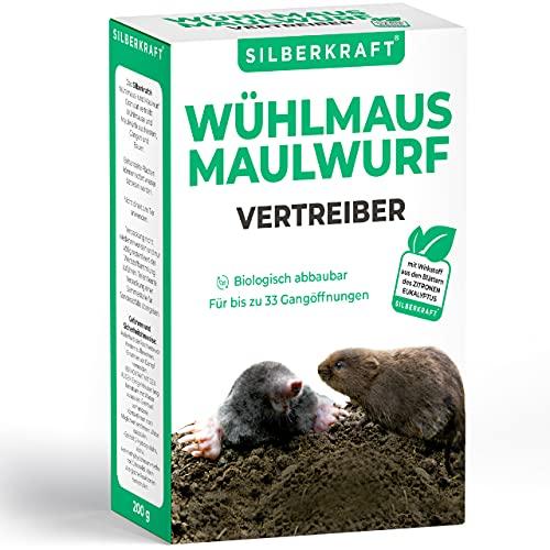 Silberkraft Wühlmaus- und Maulwurfschreck 200 g - Granulat zur Abwehr & Bekämpfung - Maulwurf- und Wühlmausvertreiber zum Vertreiben und bekämpfen -...