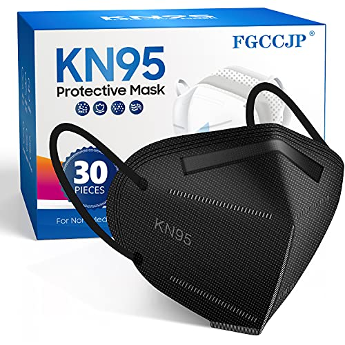 FGCCJP KN95 Face Mask 30pcs Disposable Face Masks Individual Packed Safety 5 Layers Breathable Cup Dust Masks Filtration>95% for Adults Men Women(Black)