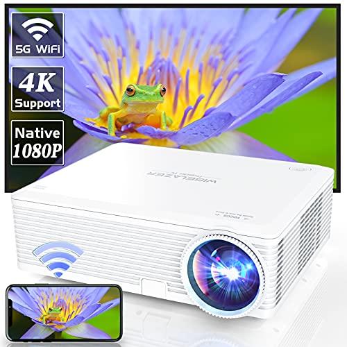 WISELAZER Beamer, Native 1080P Support 4K Beamer Full HD, LED Heimkino Beamer, kompatibel mit Smartphone, Laptop, TV Box, HDMI, USB