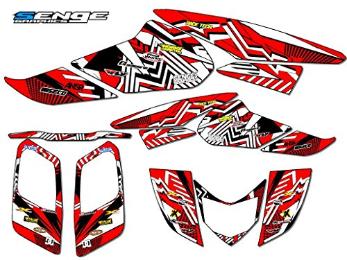 Senge Graphics Kit Compatible with Honda 2006-2019 TRX 250EX, Mayhem Red Graphics Kit with Blank Number Plates