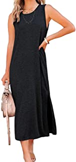 Women's Summer Sleeveless Long Tank Dress Casual Side...
