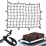 Lawei Cargo Net with 12 Hooks Elasticated Bungee Cargo Net Auto Roof Tie-Down Net Heavy Duty Truck Bed Net -...