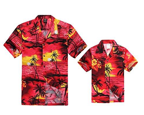Hawaii Hangover Camisa Hawaiana del Muchacho de la Camisa de los Hombres del Equipo de Luau del Hijo del Padre Puesta de Sol roja 6XL-14