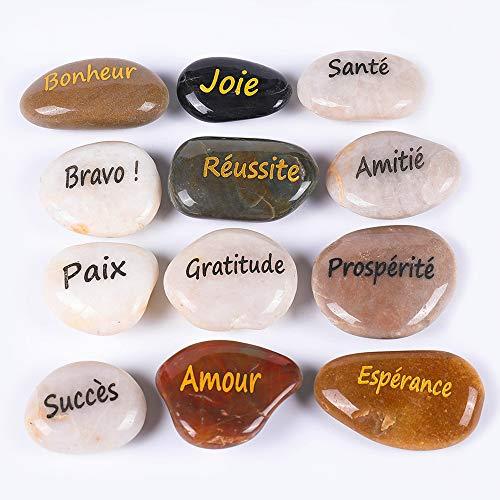 RockImpact 12 Stück Steine mit Spruch Glück Gravierte Steine Gravur Inspirierende Steine Glücksbringer Ermutigung Dankbarkeit Geschenk Glückssteine (Großhandel, 12 Verschiedene Sprüche, je 5-8 cm)