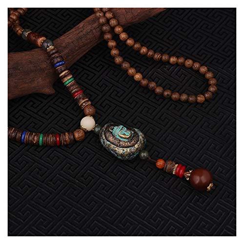 WSJKL Moda Evasión Paz Enamell Joyas étnicas de Buda Collar de los Colgantes de la Vendimia de Nepal, Hecha a Mano Sanwood Bodhi Perlas Collar de la Vendimia (Color