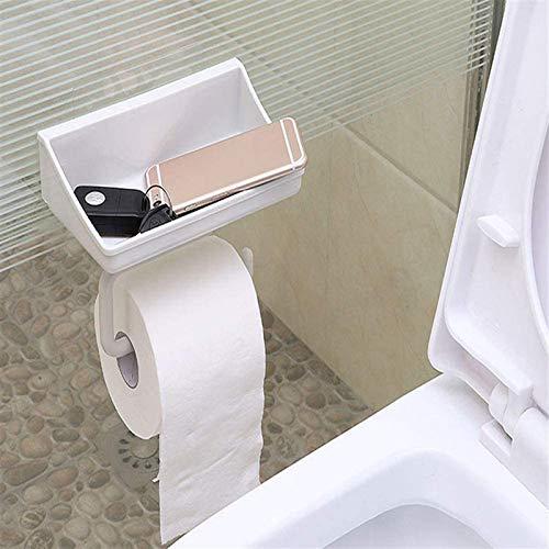 ZCM Portarrollos de papel higiénico autoadhesivo con estante de papel de seda titular para almacenamiento de baño caja de pañuelos soporte de papel