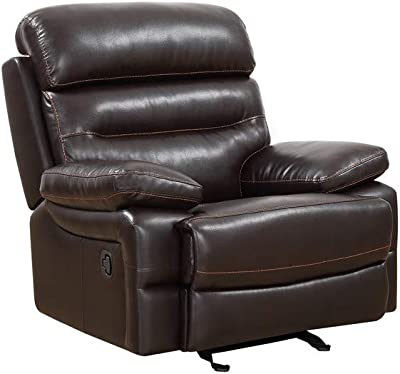 Blackjack Furniture 9442 Frederick Collection Leather Air Mid Century Modern Tufted Living Room Reclining, Chair, Beige