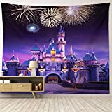 HIYOO Home Disney Castle Tapestry Wall Hanging, Fairy Tale Fairyland Wall Tapestries Disneyland Fireworks Night Wall Decor for Children Kids Baby Dorm, Bedroom, Birthday Party Background 90'W x 71'L