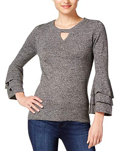 A. Byer Damen 3/4 Sleeve Keyhole Neck Sweater Pullover, schwarz, Klein