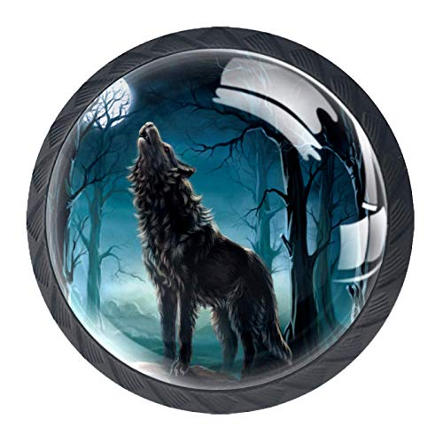 Juego de 4 pomos de armario de cocina de 3,18 cm, pomos de cristal para cajones con kit de herramientas para muebles de dormitorio, cocina, bosques de animales de lobo