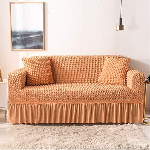 YANRR - Funda elástica para sofá de 3 plazas, antideslizante, suave, lavable, para sillón, sofá (8 colores), color naranja, 2 plazas