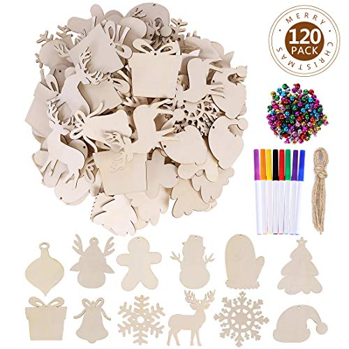 Max Fun 120PCS DIY Wooden Christmas Ornaments Unfinished Predrilled Wood for Crafts Centerpieces Holiday Birthday Hanging Decorations in 12 Shapes