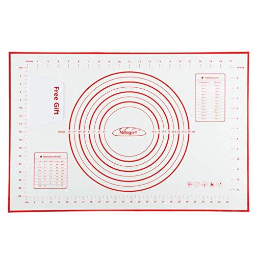 Nifogo Stuoia di Rolling della Pasticceria del Silicone, Pasta di Silicone al Calore Impasto Farina Mat Table Pad Design Bilancia da Cucina Strumenti di Cottura,40X60CM (Rosso