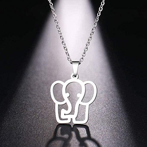 huangshuhua Collar de Acero Inoxidable para Mujer, Hombre, Nariz Larga, Elefante, Colgante, Collar, joyería de Compromiso, Collar, Cadena Colgante para Mujeres y Hombres