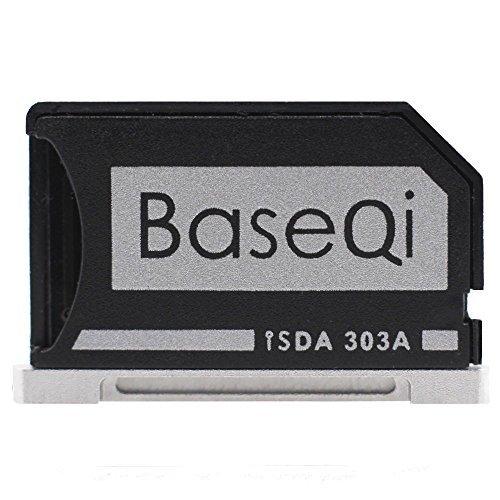 BaseQi Ninja Stealth Drive Aluminium Micro SD Adapter mit silbernem Rand für MacBook Pro Retina