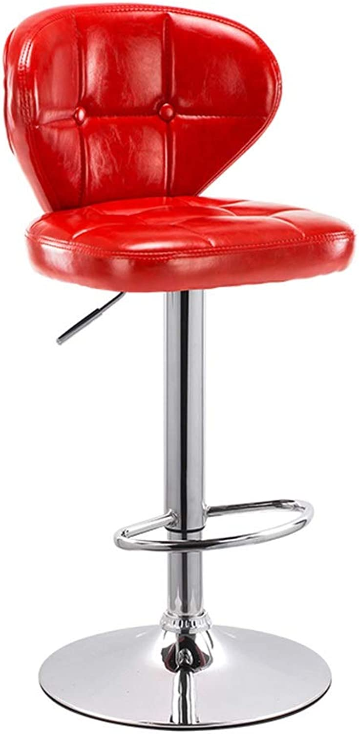 Backrest Bar Chair, Metal Industrial Style Adjustable Height High Stool Pu Tea Shop Dining Chair, 88-108CM (color   Red)