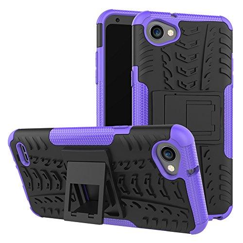 XINYUNEW Funda LG Q6, 360 Grados Protective+Pantalla de Vidrio Templado Caso Carcasa Case Cover Skin móviles telefonía Carcasas Fundas para LG Q6-Púrpura