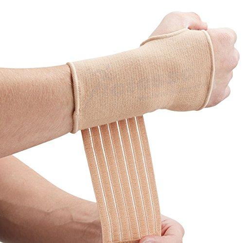 Actesso Elastische Handgelenkbandage für Gelenkschmerzen - (Beige oder Schwarz). Handbandage für Handgelenksverstauchungen, RSI, Sehnenscheidenentzündungen und beim Sport - Beidhändig (XL, Beige)