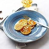 YAeele Ciotola in Ceramica Azzurro Creativo Dinner Plate Domestica Piatto Fondo Giapponese Ramen Ciotola Macedonia di Frutta Zolla della Prima Colazione