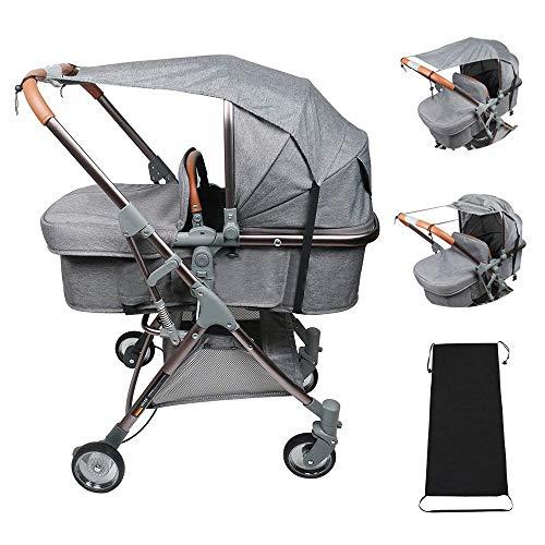 Jooheli Universal Sonnensegel, 2 Stück Sonnenschutz für Babys Sonnensegel, Markisen für Kinderwagen Babywanne - reißfester Sonnenschutz(Schwarz+Grau)