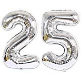 Huture 2 Luftballons Zahl 25 Figuren Aufblasbar Helium Folienballon Große Folienmylar Ballons Riesen Silber Ballons 40 Zoll Luftballons Zahl für Geburtstag Party Dekoration Abschlussball XXL 100cm