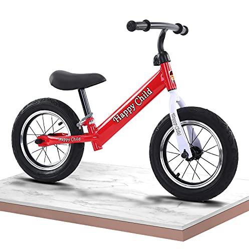 WTING Bicicleta de Equilibrio, Bicicleta Sin Pedales Infantil para niños de 2 a 6 años, Manillar y Asiento Regulables con Ruedas de Goma EVA,Balance Bike de Aluminio,Rojo