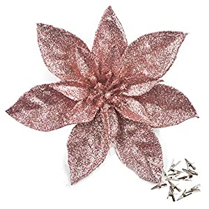 GL-Turelfies 12 Pcs Glitter Christmas Flowers(16cm/6.3'') with 12 Pcs Clips Artificial Poinsettia Flower Christmas Tree Flower Decorations Xmas Tree Ornaments (Rose Gold)